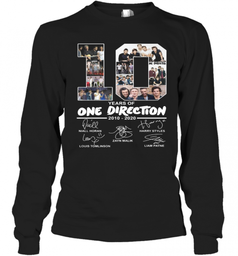 10 Years Of One Direction 2010 2020 Signature T-Shirt Long Sleeved T-shirt