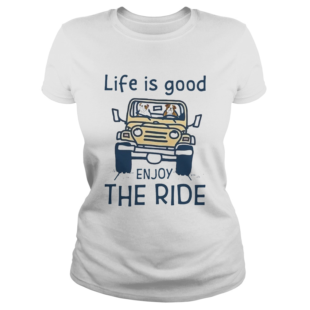 1594895628Bull dog life is good enjoy the ride yellow car  Classic Ladies