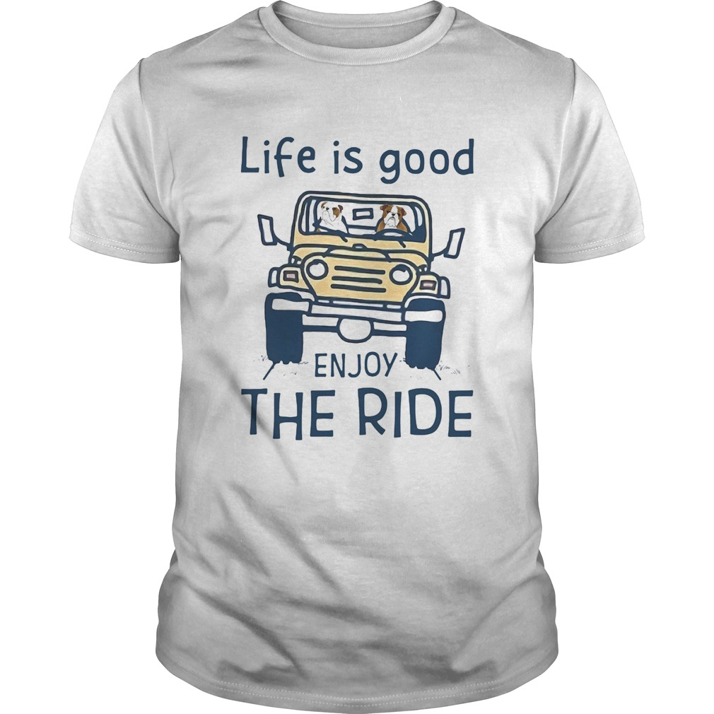 1594895628Bull dog life is good enjoy the ride yellow car  Unisex