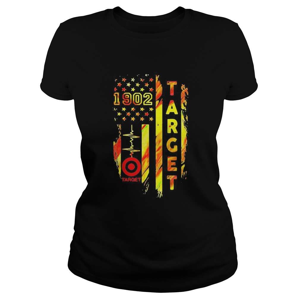 1902 target heartbeat america flag independence day  Classic Ladies