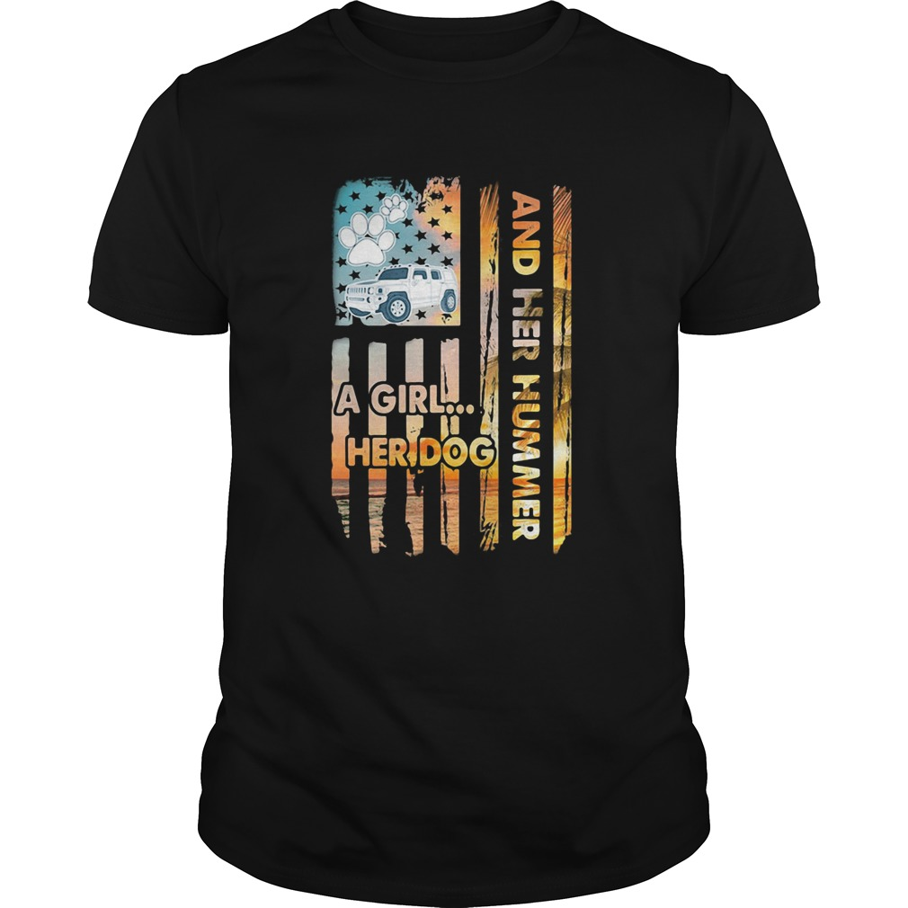 And her hummer a girl her dog car footprint American  Unisex