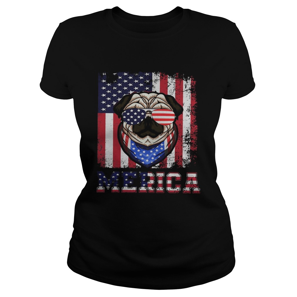 Merica Dog Glasses Amrican Flag Independence Day  Classic Ladies