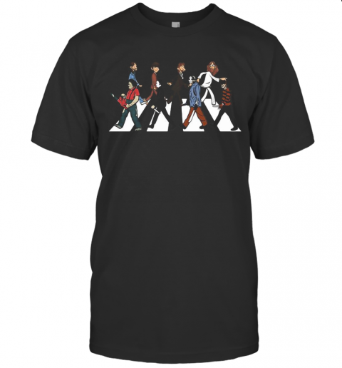 The Beatles And Horror Characters Abbey Road T-Shirt Classic Men's T-shirt
