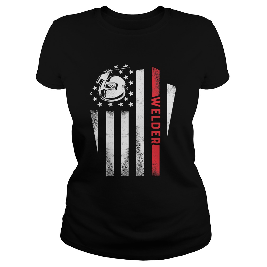 Welder American Flag Red Black White  Classic Ladies