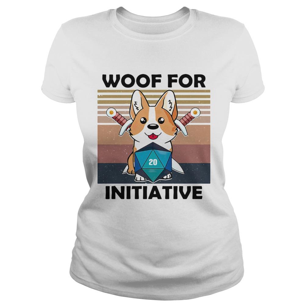 Woof For Initiative Corgi D20 RPG Gamer Vintage Retro  Classic Ladies