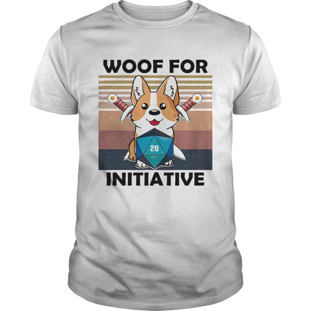 Woof For Initiative Corgi D20 RPG Gamer Vintage Retro  Unisex