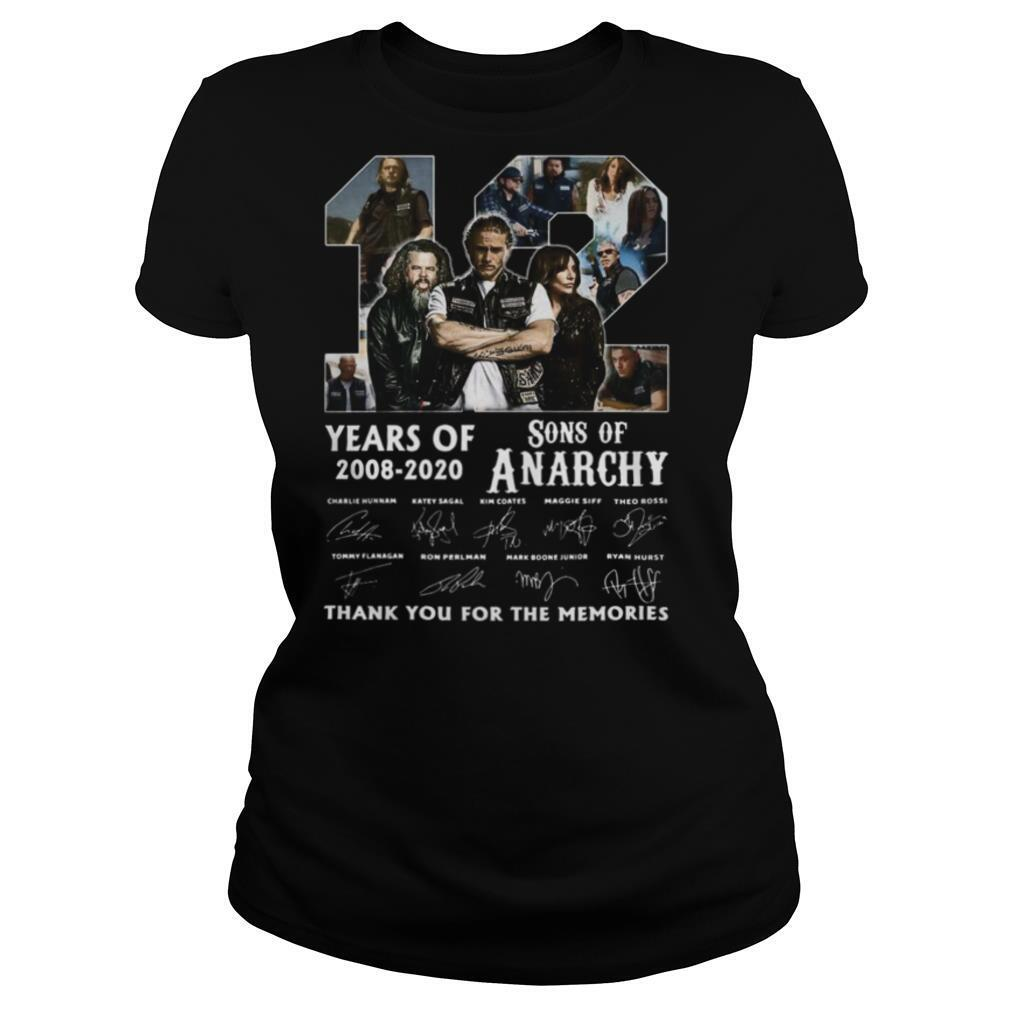 12 Years Of 2008 2020 Sons Of Anarchy Thank You For The Memories Signature shirt