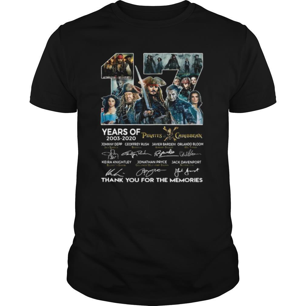 17 Years Of 2003 2020 Pirates Caribbean Thank You For The Memories Signatures shirt