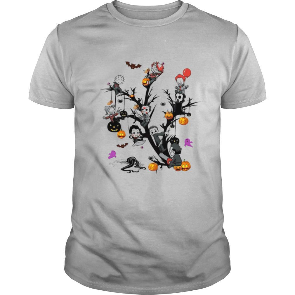 Horror Movie Characters And Pumpkin Tree Halloween shirt