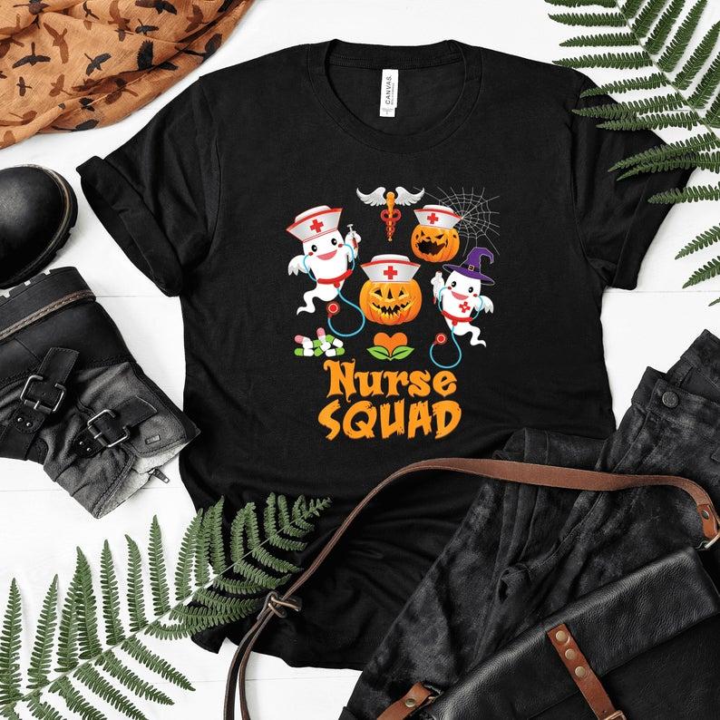 Nurse Squad Team Crew Cute Pumpkin Ghost Witch Boo Shirt, Halloween Fall Witch, Boo Boo Crew, Cute Nurse Ghost Shirt, Halloween Nursing Gift