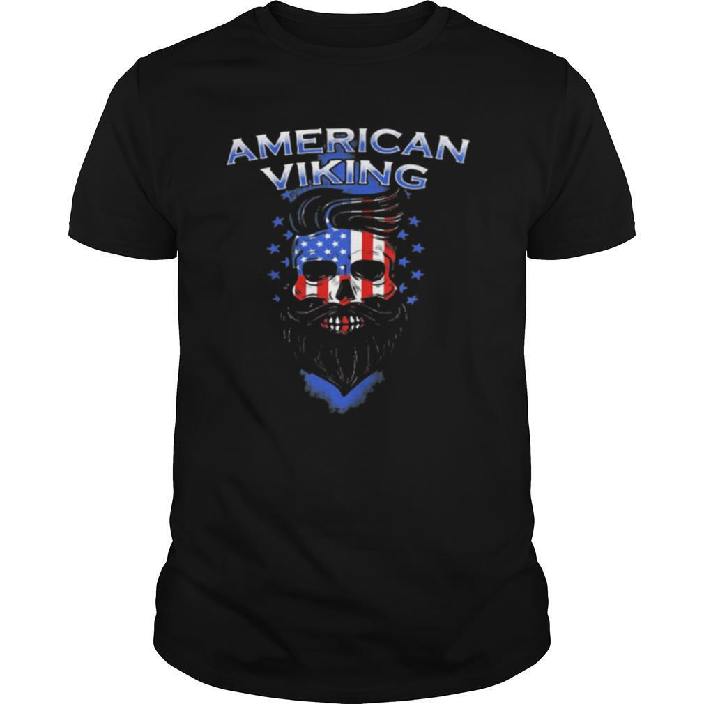 Skull beard american viking american flag shirt