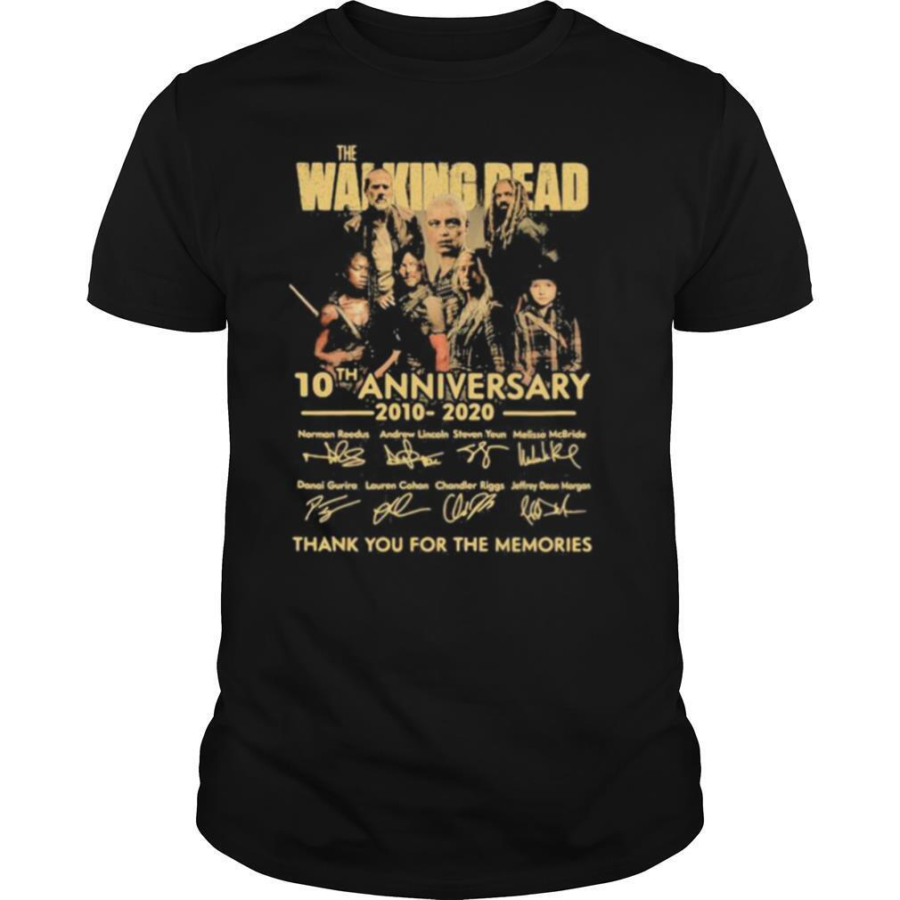 The walking dead 10th anniversary 2010 2020 thank for the memories signatures shirt