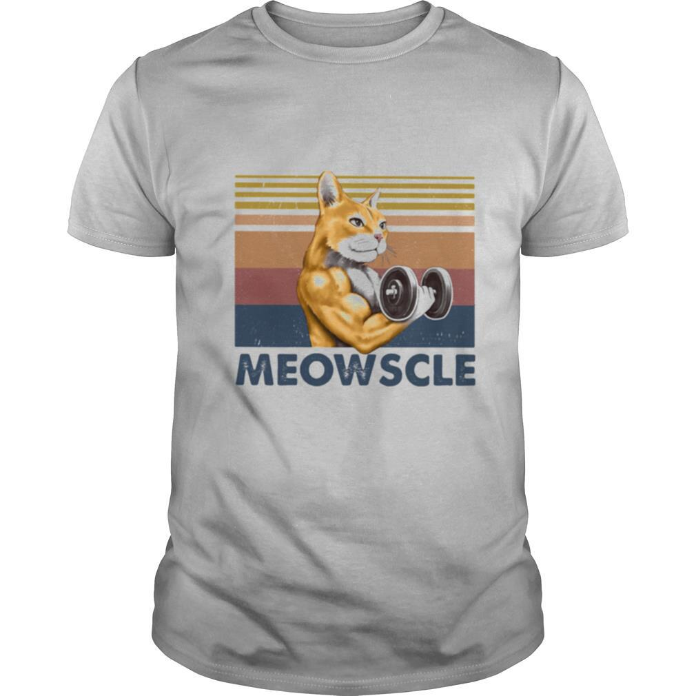 Weightlifting cat meowscle vintage retro shirt