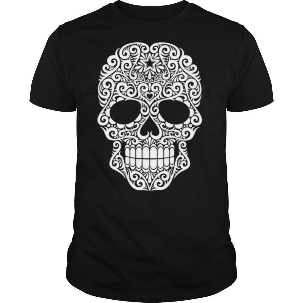 White Swirling Lines Sugar Skull Day Dead shirt
