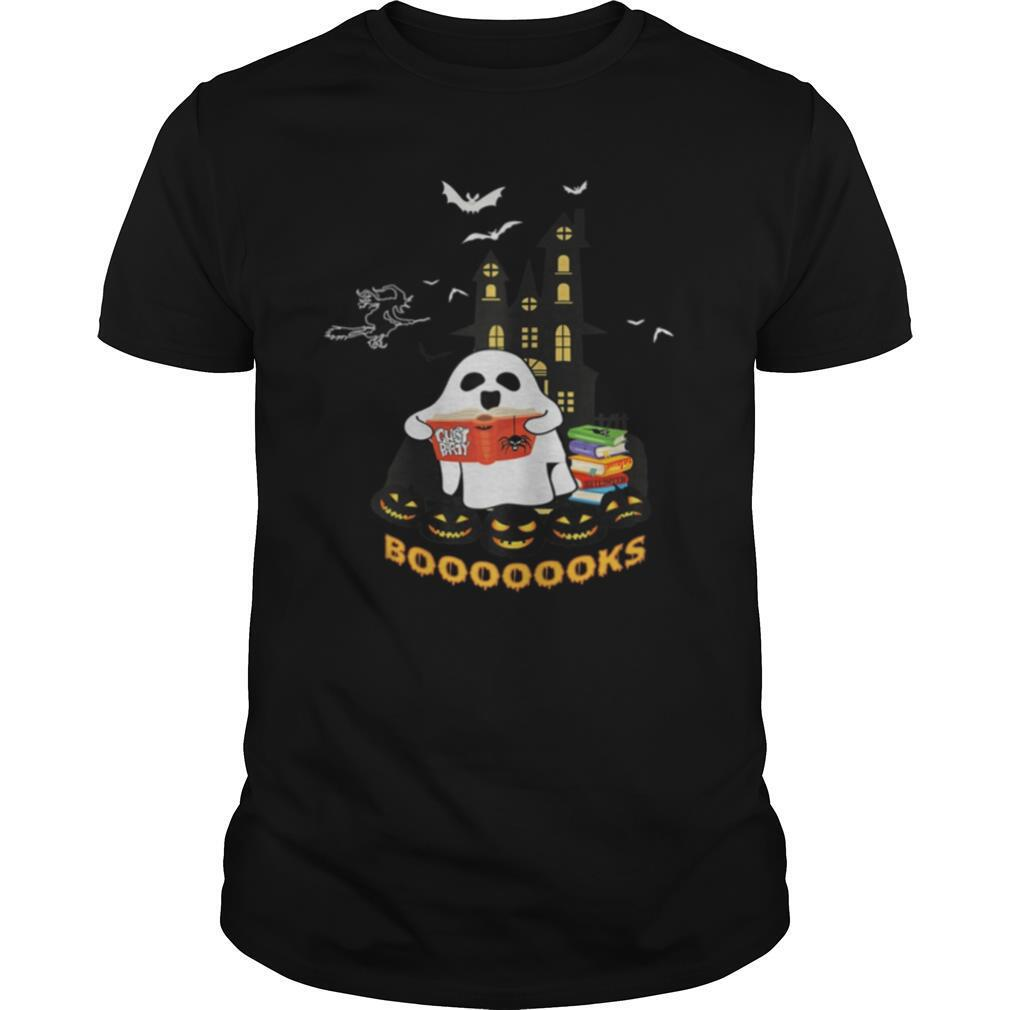 Womens Funny Halloween Ghost Reads Booooooks boo read books shirt
