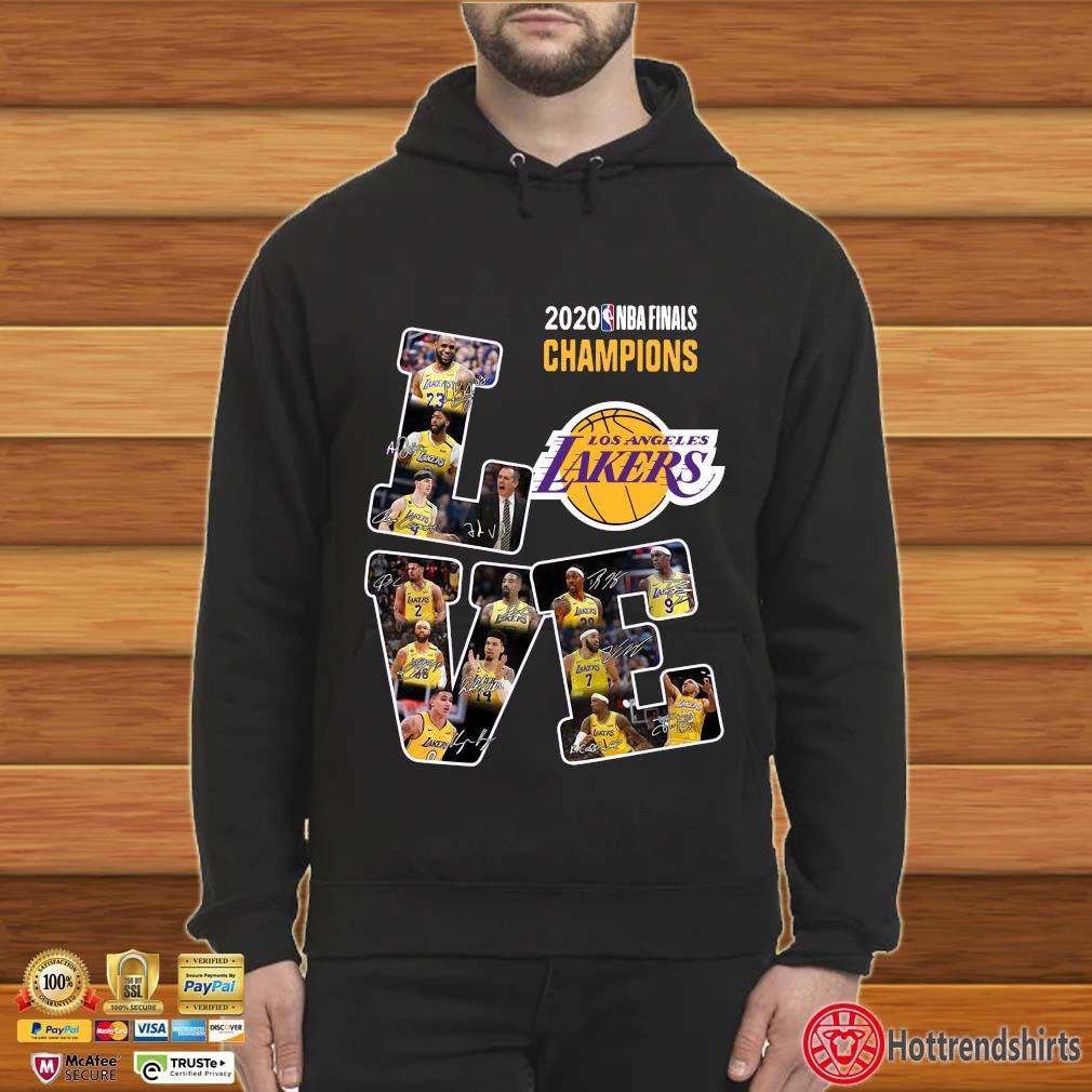 2020 NBA finals Champions Los Angeles Lakers Love signatures s Hoodie