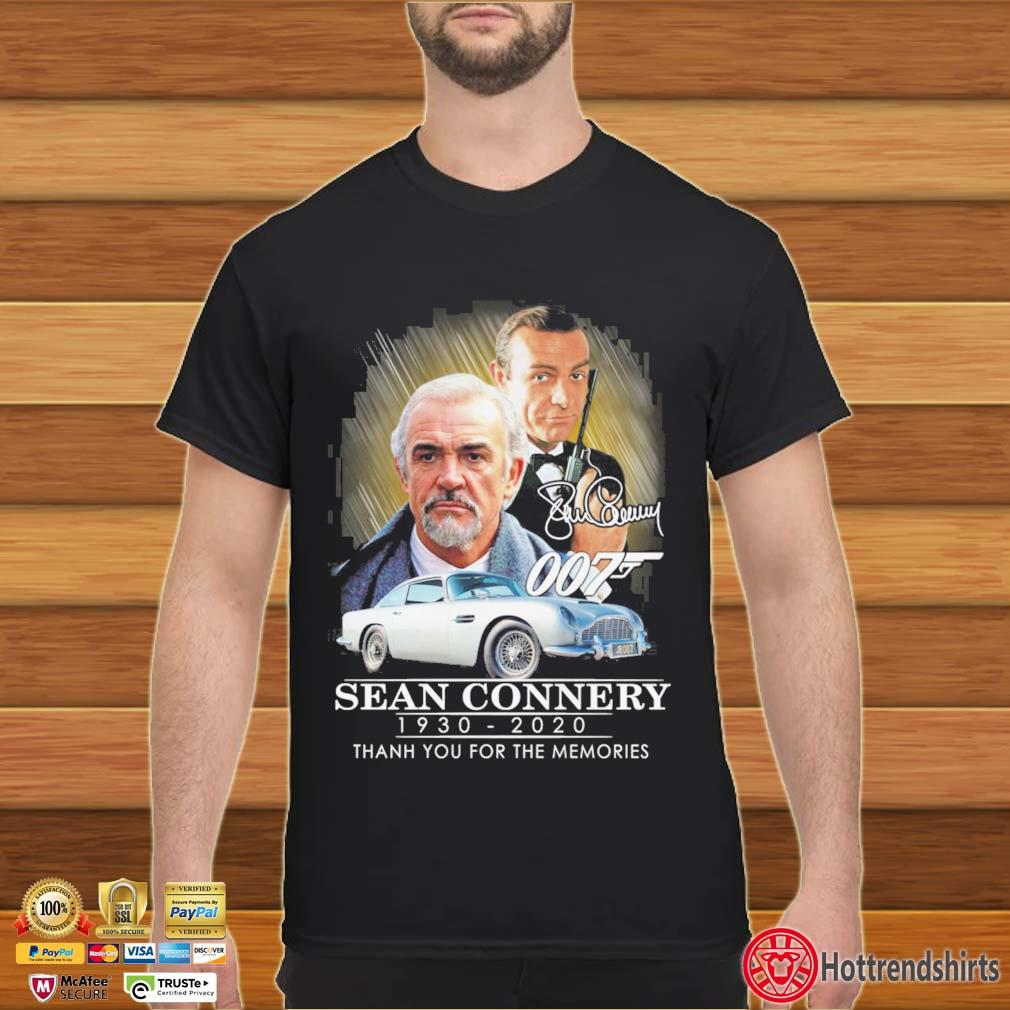 007 Sean Connery 1930-2020 thank you for the memories signatures s Shirt đen
