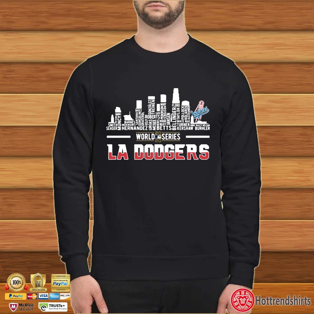 2020 world series LA Dodgers player names shirt
