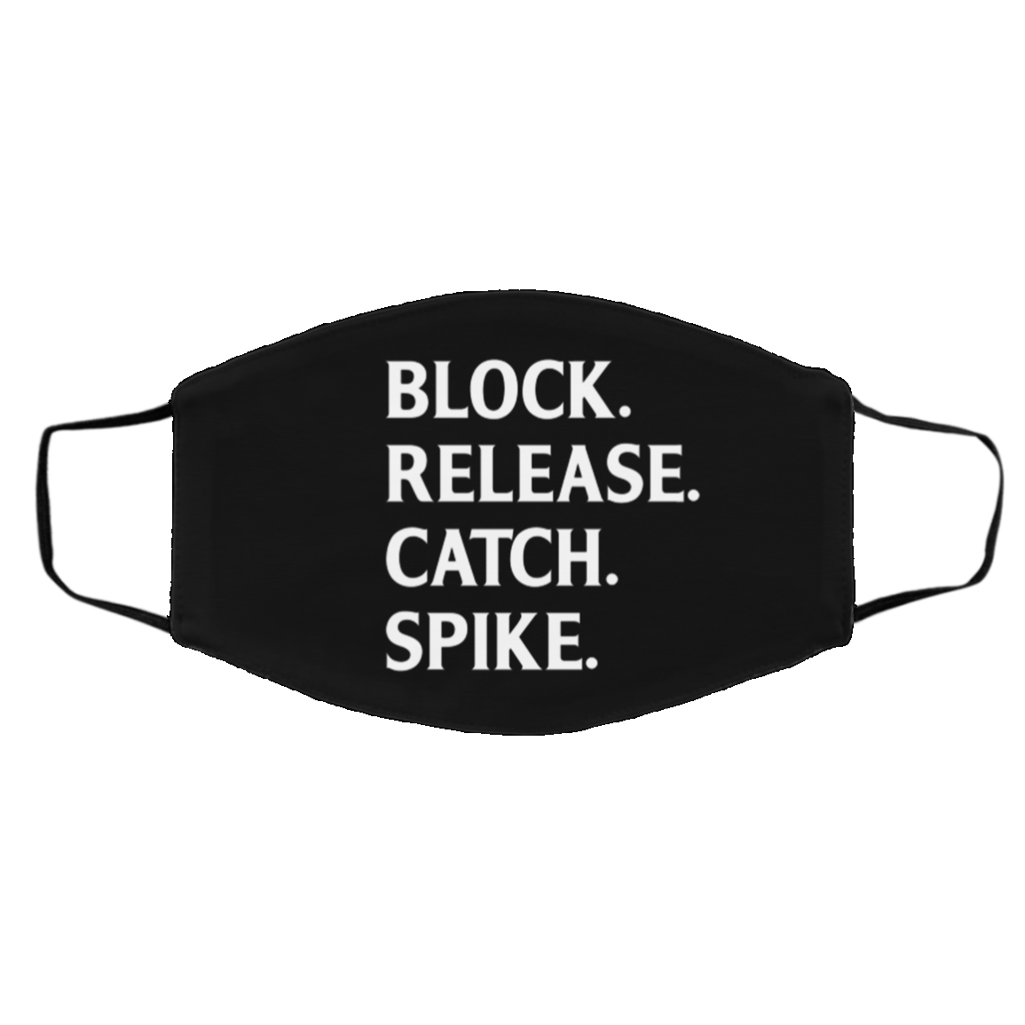 Block Release Catch Spike Football Fan Washable Reusable Custom - Printed Cloth Face Mask Cover, Black, Cloth Face Cover – Medium/Large