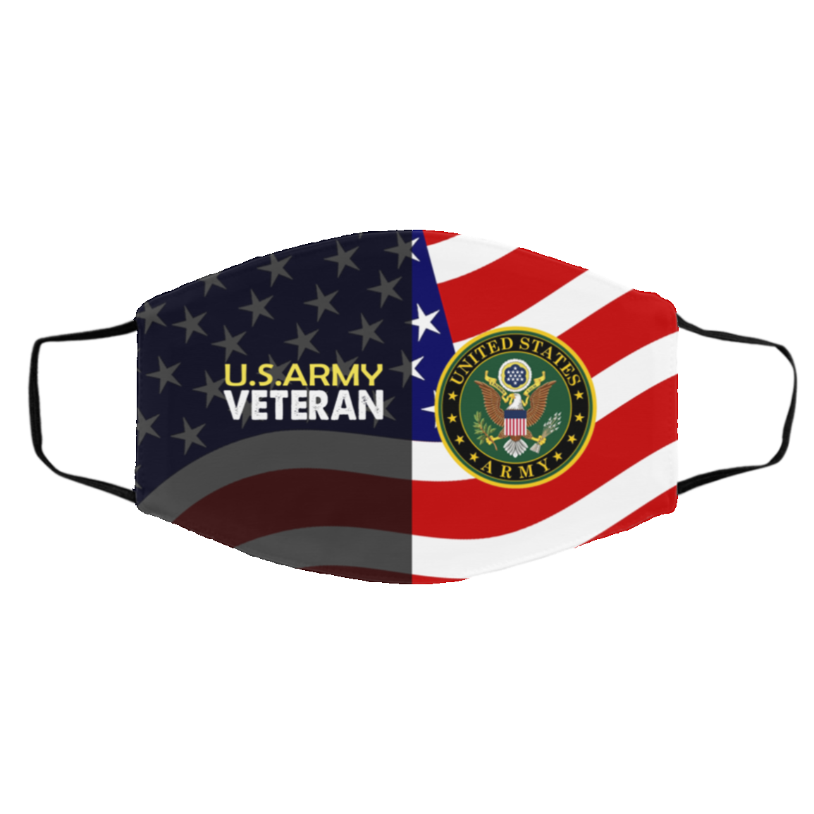 US Army Veteran Washable Reusable Custom Printed Cloth Face Mask Cover - US Veteran Flag Face Mask, White, Cloth Face Cover – Medium/Large