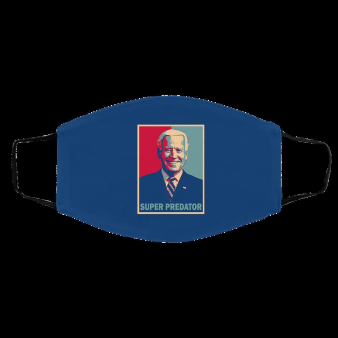 Black Americans Super-Predator Dumb Joe Biden Washable Reusable Custom - Printed Cloth Face Mask Cover), White, Cloth Face Cover – Medium/Large