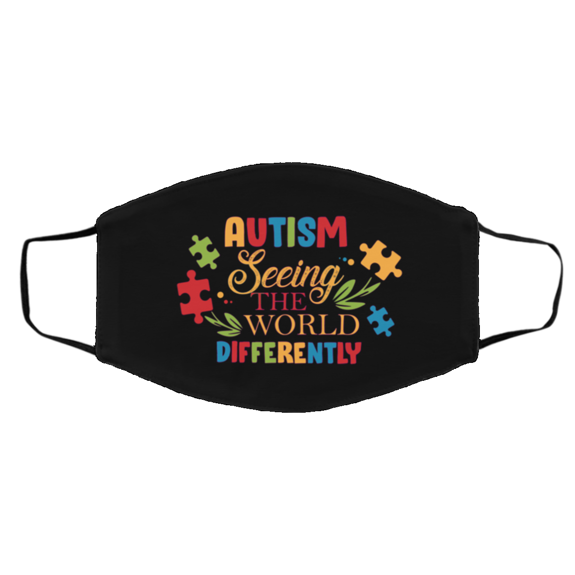Autism Seeing The World Differently Washable Reusable Custom Printed Cloth Face Mask Cover, Black, Cloth Face Cover – Medium/Large
