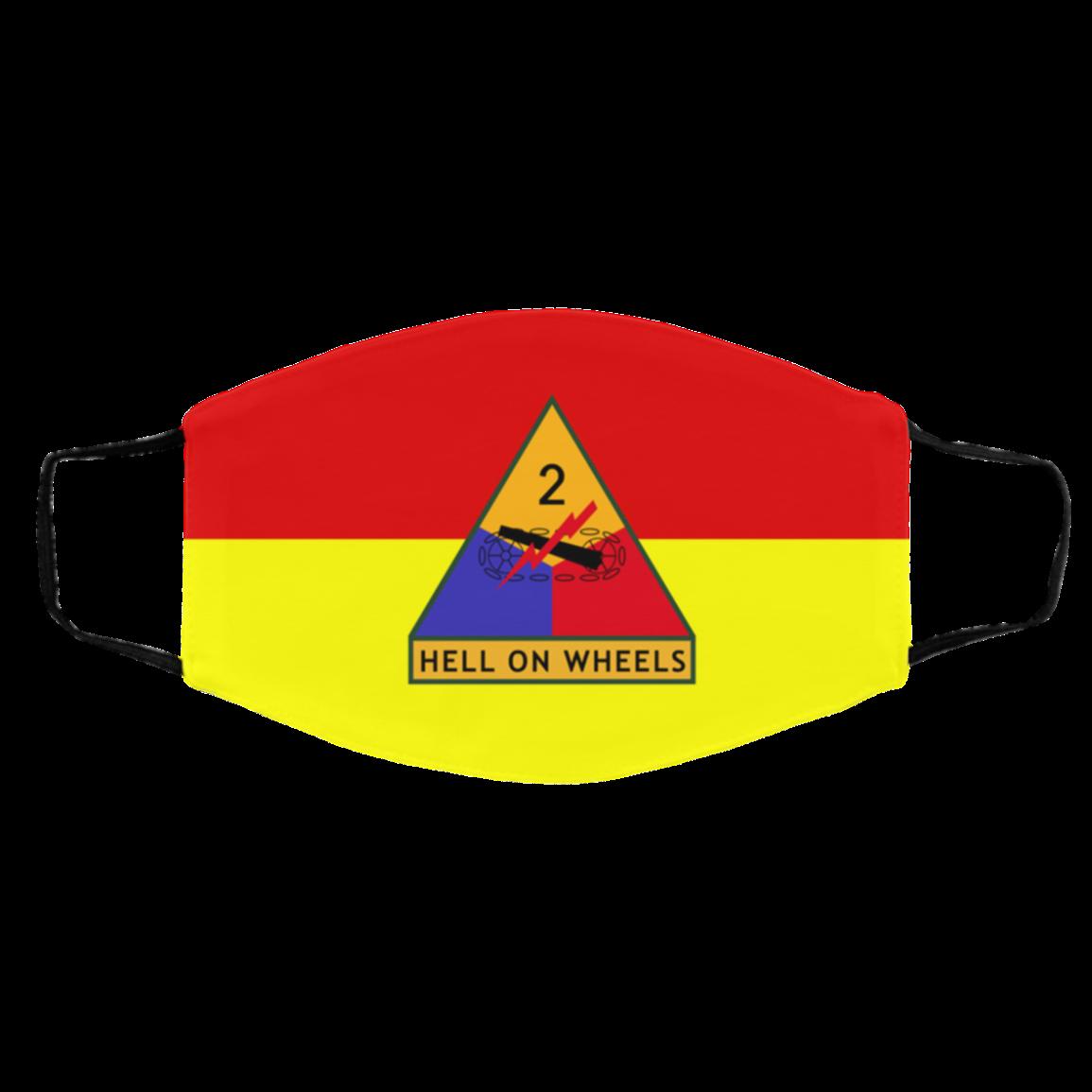 Ar-my Vet-eran 2nd Armor-ed Division Cloth Face Masks