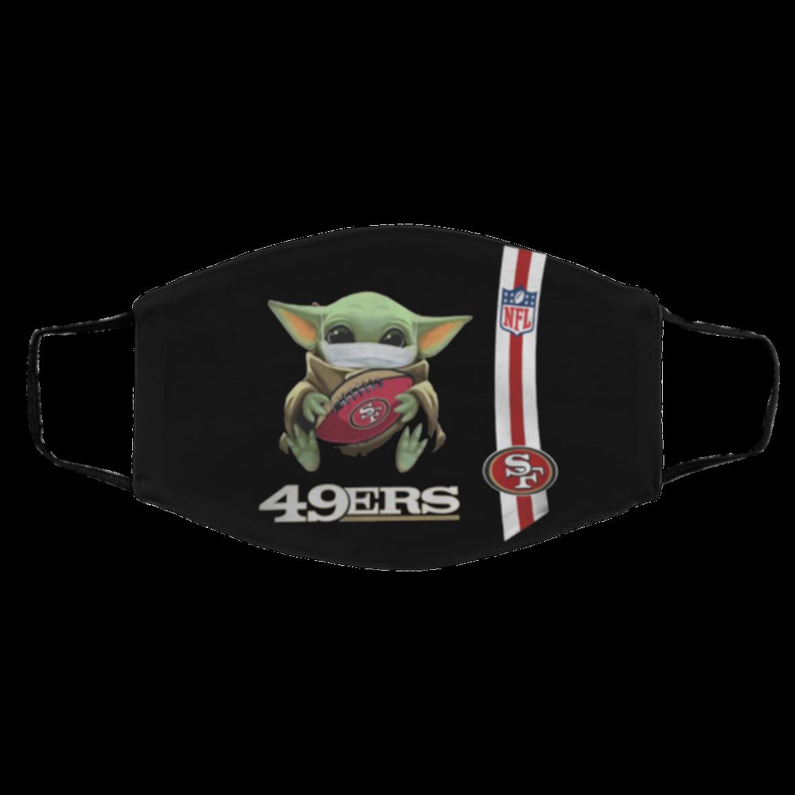 Baby Yoda hug San Fra-ncis-co 49-ers N-F-L Face Mask