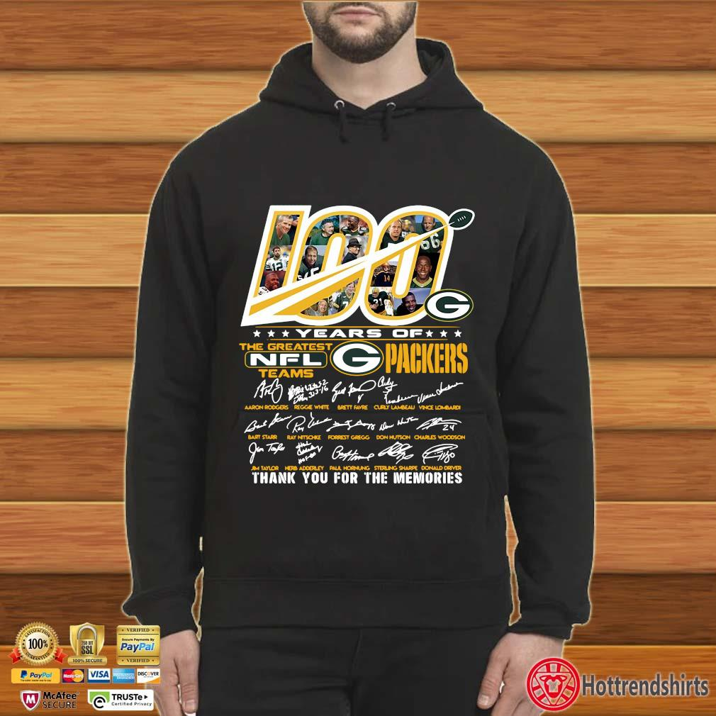 100 years of the greatest NFL teams Green Bay Packers thank you for the memories signatures s Hoodie
