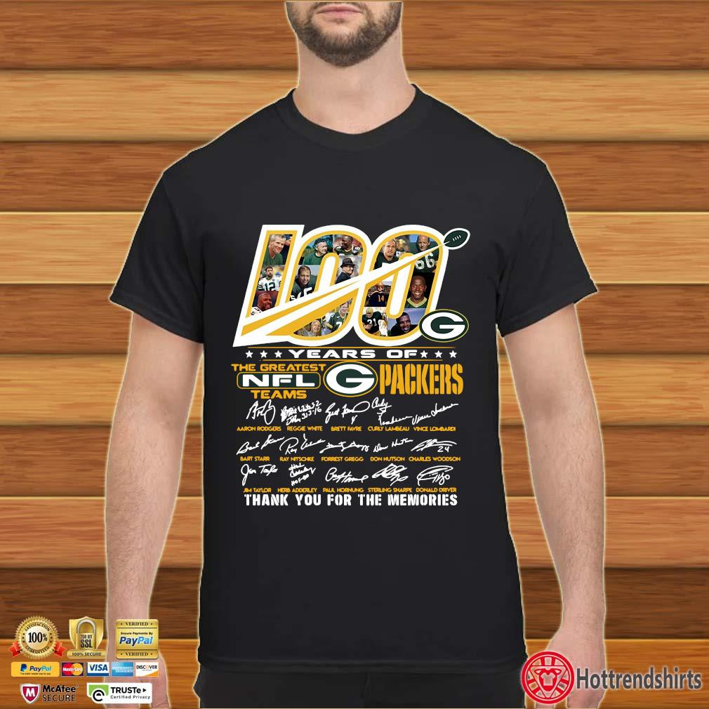 100 years of the greatest NFL teams Green Bay Packers thank you for the memories signatures shirt
