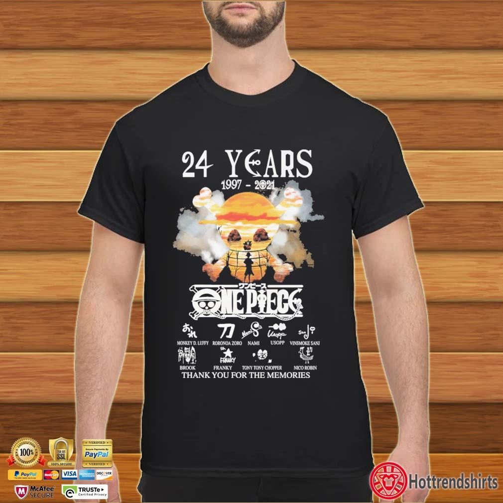 24 Years 1997-2021 Onepiece Thank You For The Memories Signatures Shirt