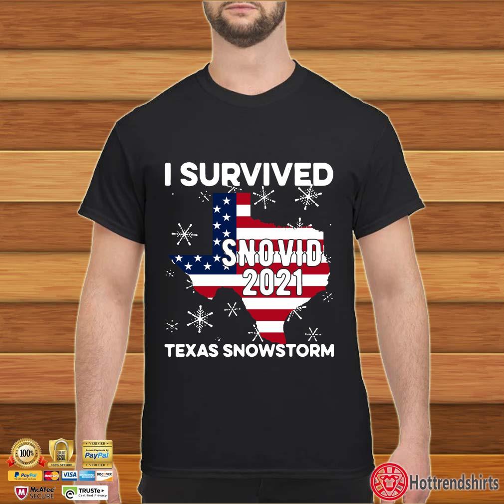 American flag I survived snovid 2021 Texas snowstorm shirt