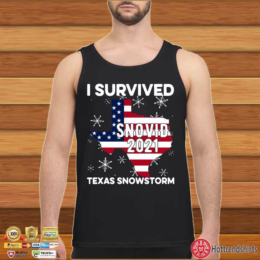 American flag I survived snovid 2021 Texas snowstorm s Tank top den