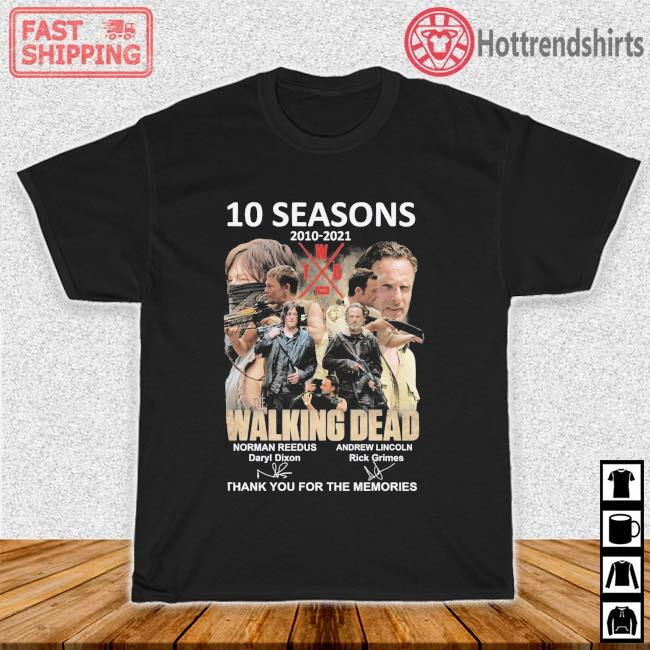 10 seasons 2010-2021 The Walking Dead thank you for the memories signatures shirt