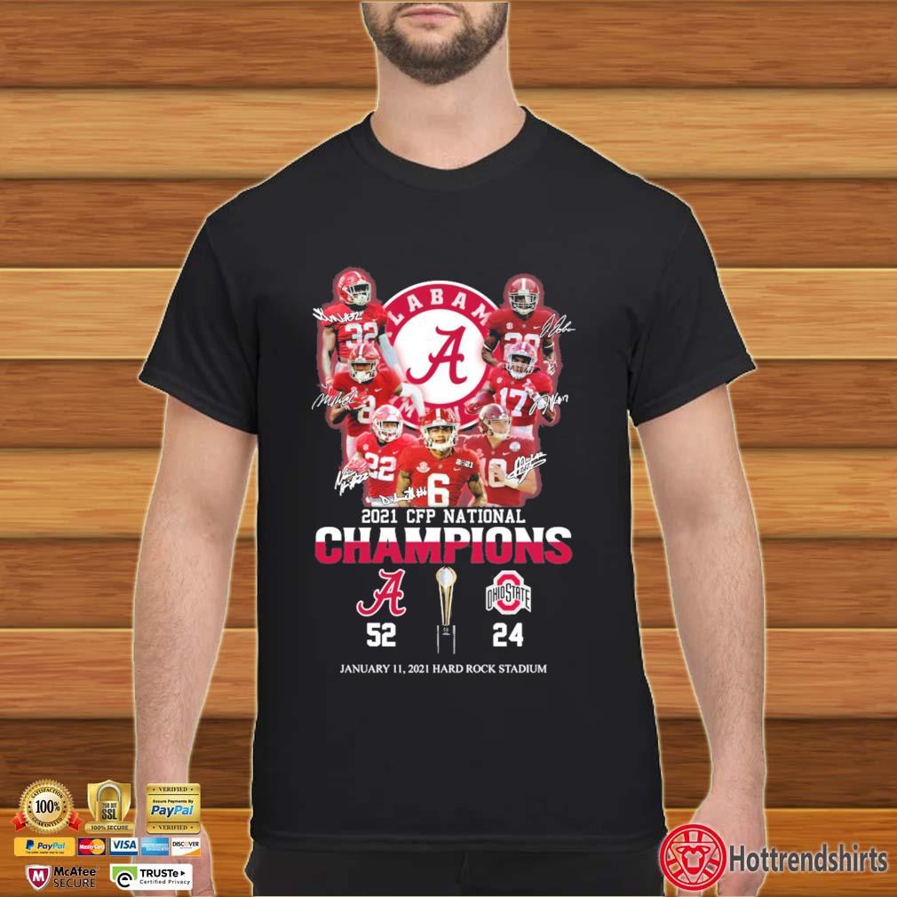 2021 CFP National Champions Alabama Crimson Tide January 11 2021 Hard Rock Stadium Signatures Shirt