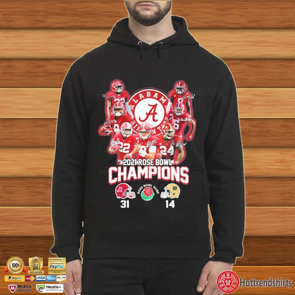 2021 Rose Bowl Champions Alabama Crimson Tide Signatures Shirt Hoodie