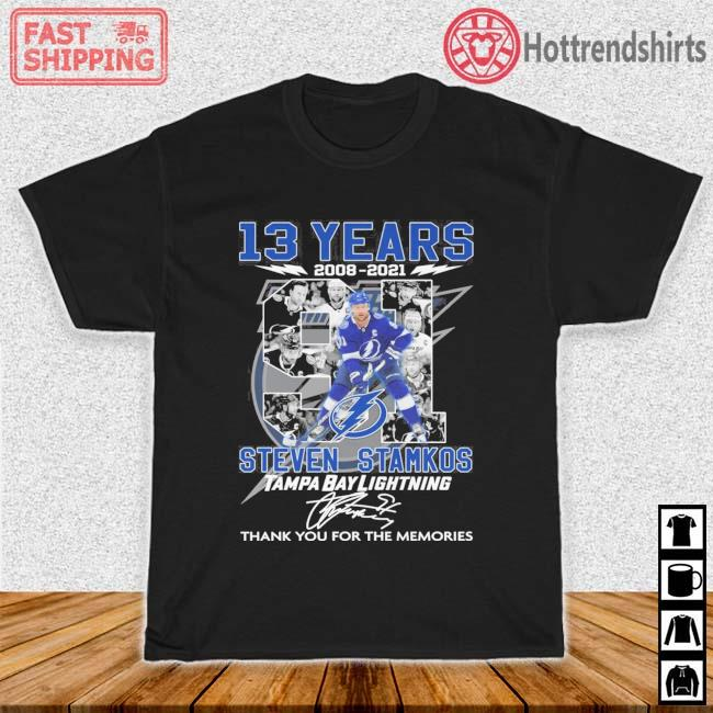 13 years 2008-2021 91 Steven Stamkos Tampa Bay Lightning thank you for the memories signature shirt