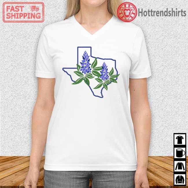 Texas Bluebonnet Wildflowers Shirt Vneck trang